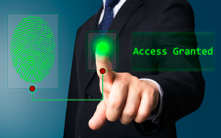 Business person working with modern virtual technology (electronic key) Stock Photo