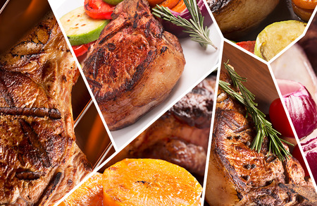 Collage from different photoes of tasty grilled meat Stock Photo
