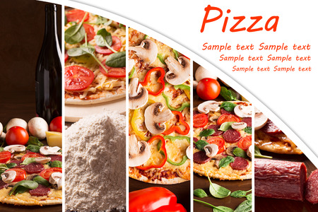 Collage from photoes of pizza with bell pepper and mushrooms