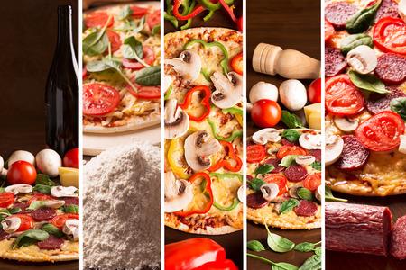 ピーマンとキノコのピザの写真からコラージュします。 写真素材