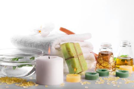 SPA still life: towels, candles, soap, massage oil
