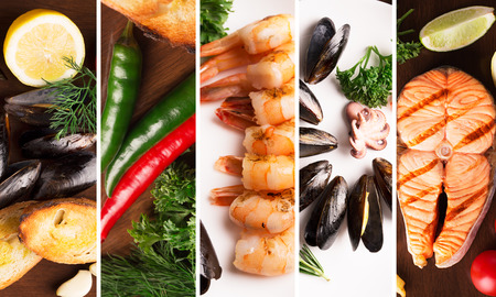Collage from different photoes of seafood photo