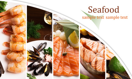 Collage from different photoes of seafood (copy spase) photo