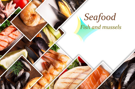 Collage from different photos of seafood with copy space