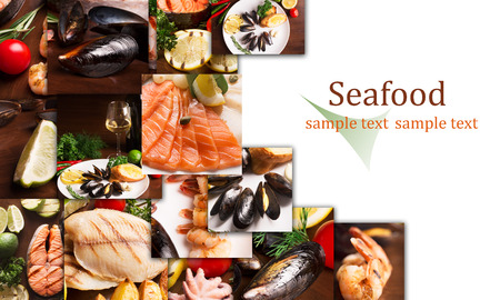 Collage from different photos of seafood