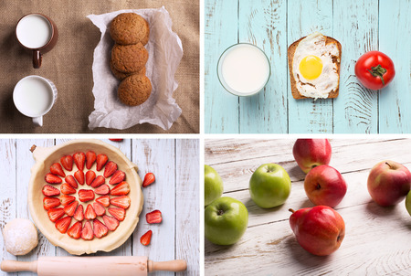 rustic food: Rustic food collage from photos of food and drinks Stock Photo