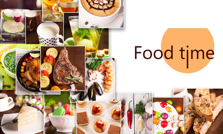 food collage: Collage from photoes of food and drinks