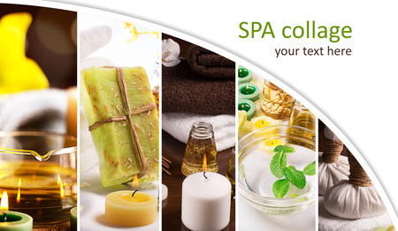 SPA collage from pictures of candles and massage equipment Reklamní fotografie