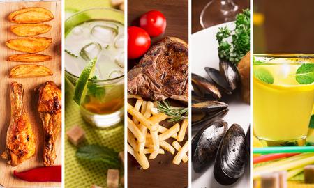 Collage da diverse immagini di cibo gustoso