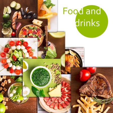 おいしい食べ物や飲み物のさまざまな写真からコラージュします。 写真素材