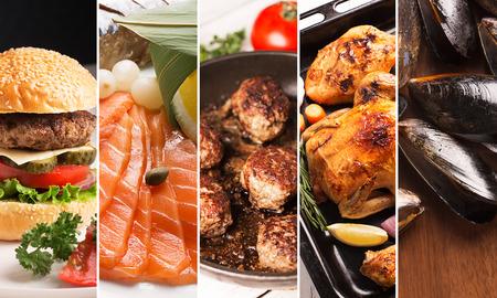 肉や魚介類の写真からコラージュします。