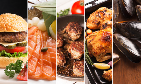 Collage from photos of meat and seafood Stock Photo