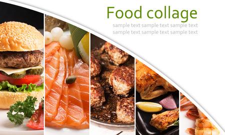 Collage van foto's van vlees en vis