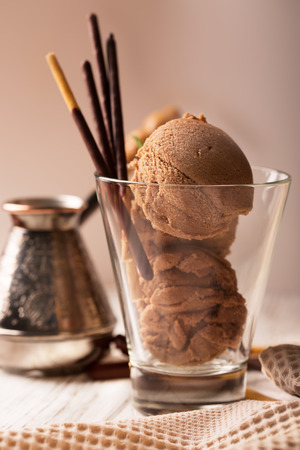 cream color: Chocolate ice cream with chocolate sticks on a plate