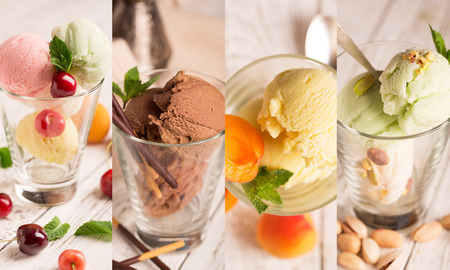 Collage from different photos of tasty ice cream