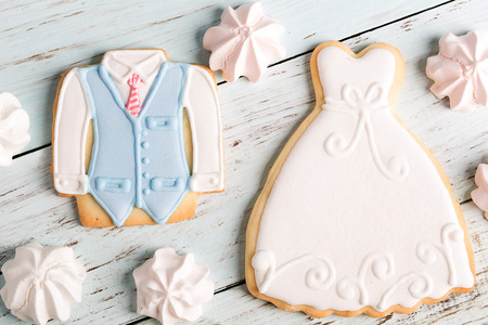 holiday cookies: Wedding cookies on a blue wooden table