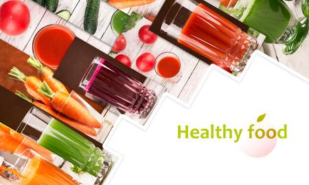 食品のさまざまな野菜やジュースの写真からコラージュ