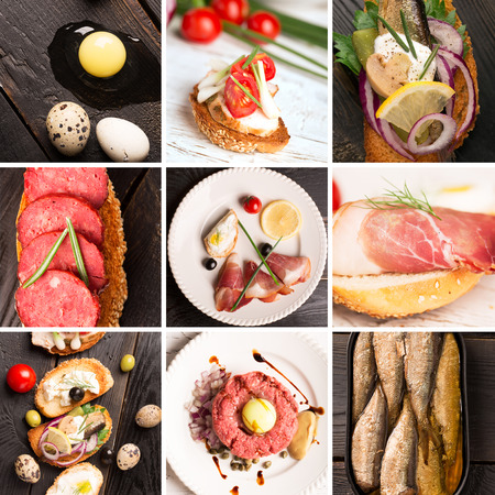 Collage form photos of tapas and jamon
