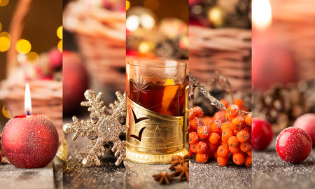grog: Christmas collage with red and golden ornaments, fir-cones and grog on a wooden table Stock Photo