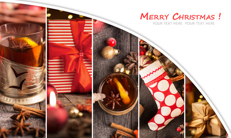 赤と金色の装飾品、ギフト、木製のテーブルに酒とクリスマス コラージュ