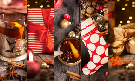 grog: Christmas collage with red and golden ornaments, gifts and grog on a wooden table