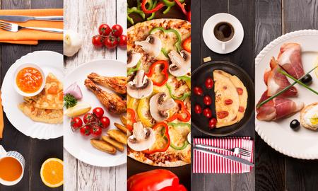 Mat collage från bilder av olika frukost Stockfoto