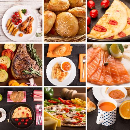 昼食のための別の調理された食べ物の写真から食品コラージュ
