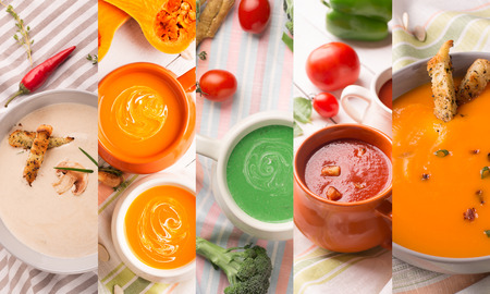puree: Collage from colorful photos of soups puree Stock Photo