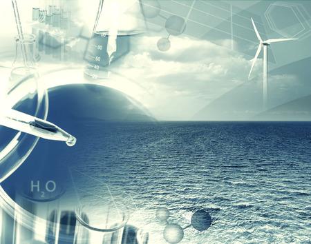 laboratorio clinico: Pipeta con gota de l�quido y equipo de laboratorio en el paisaje marino (collage) Foto de archivo