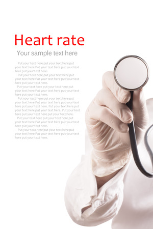 doctor examine: Doctor uses stethoscope for measurement (with copy space)
