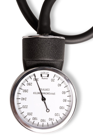 sphygmomanometer: Sphygmomanometer for blood pressure measurement isolated on white background