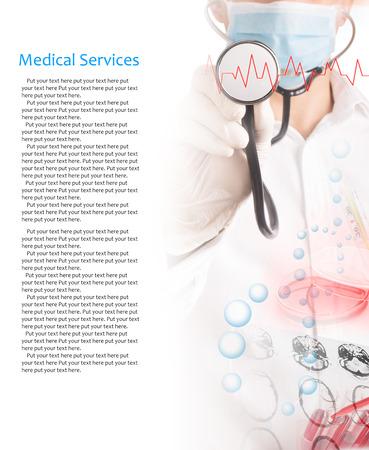 equipos medicos: Collage de los servicios médicos de fotos (con copia espacio)