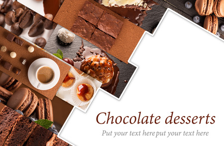 dessert plate: Collage from photos of chocolate desserts and sweets