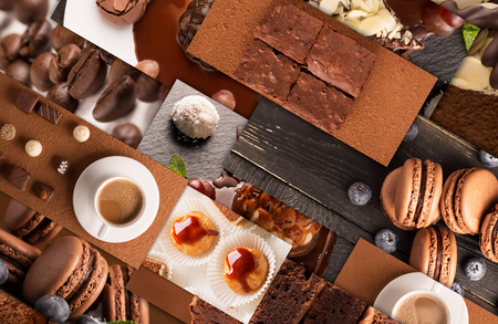チョコレートのデザートやお菓子の写真からコラージュします。