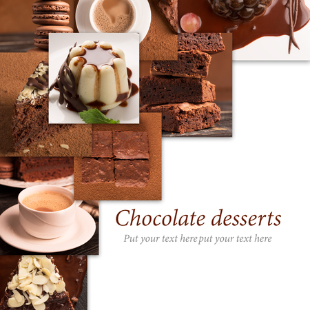 dessert: Collage from photos of chocolate desserts and sweets
