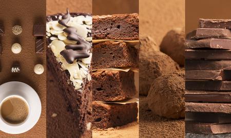 Collage van foto's van chocolade desserts en snoep Stockfoto