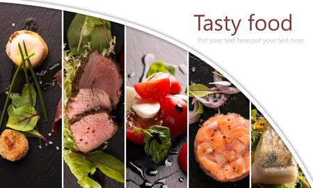 サラダとメインコース (コピー スペース) での食べ物写真のコラージュ