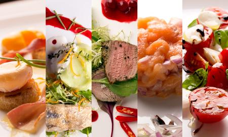 Food collage de fotos de ensaladas y platos principales Foto de archivo - 47224505