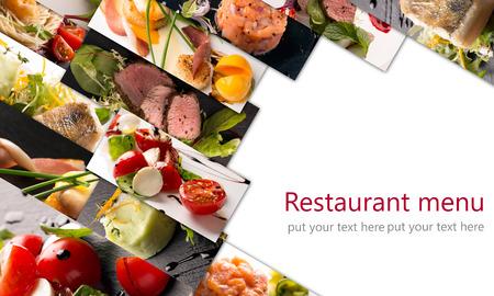 comidas saludables: Food collage de fotos de ensaladas y platos principales Foto de archivo