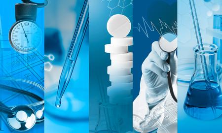医療サービス (青い色) で写真のコラージュ