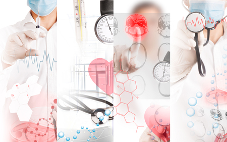 Medical services photo collage (in red colors) Stock Photo