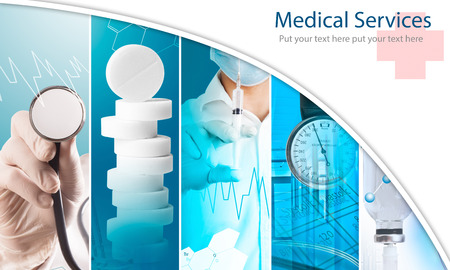 Medical services photo collage (with copy space)