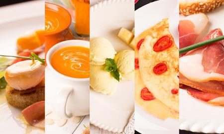 白い背景に自然食品のフォーム写真をコラージュ 写真素材