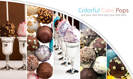 chocolate cakes: Photos of colorful cake pops. Photo collage Stock Photo
