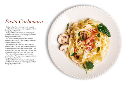 dish: Pasta Carbonara with pancetta, mushrooms and sauce Stock Photo