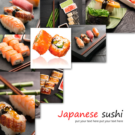 sushi restaurant: Traditional japanese sushi with fish and rice (collage)