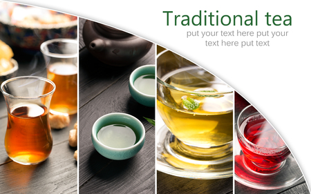 sorts: Traditional sorts of tea different cultures (collage) Stock Photo