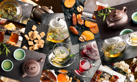 sorts: Traditional sorts of tea in different cultures (collage) Stock Photo