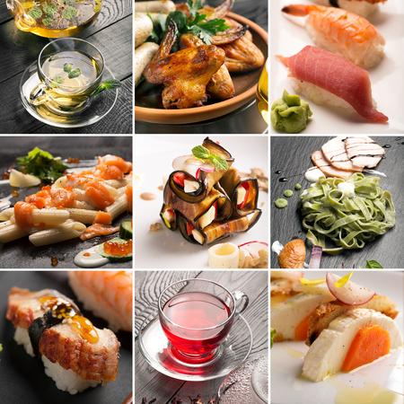 自然食品のさまざまな種類の写真からコラージュします。