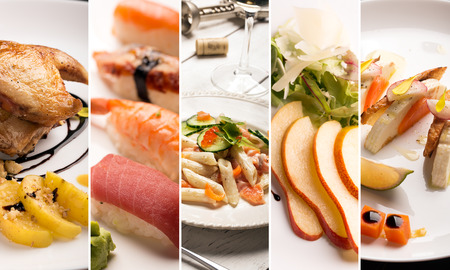 Collage de fotos de diferentes tipos de alimentos naturales